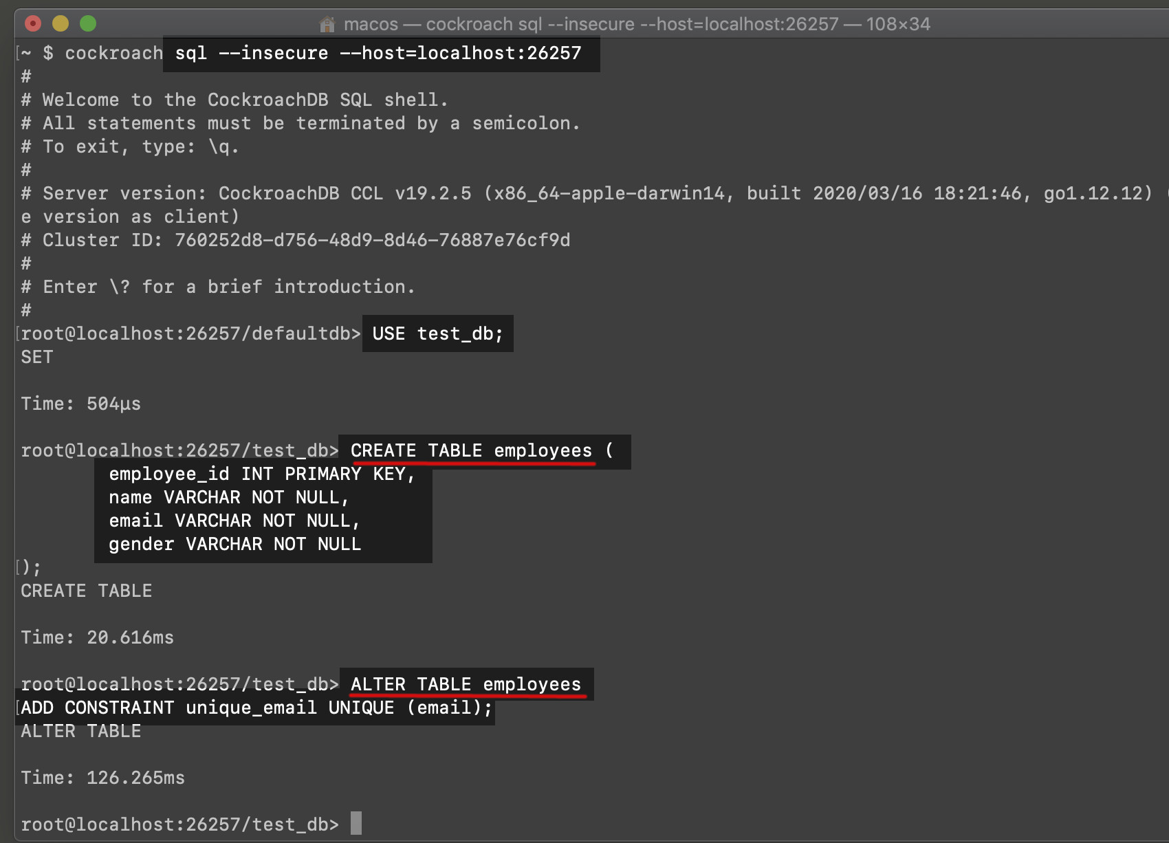 Screenshot of a Cockroachdb constraint create table and alter table SQL example