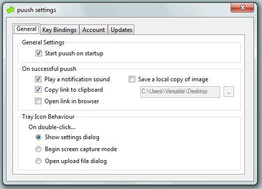 puush.me general settings