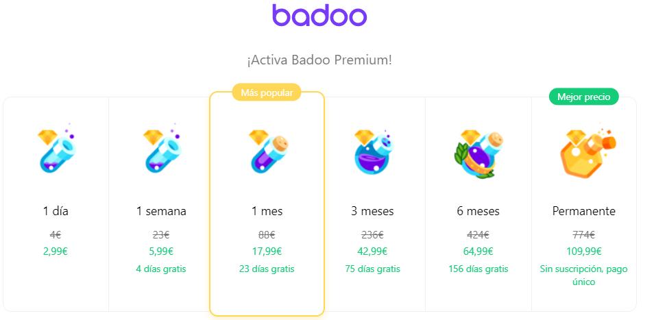 badoo premium precios