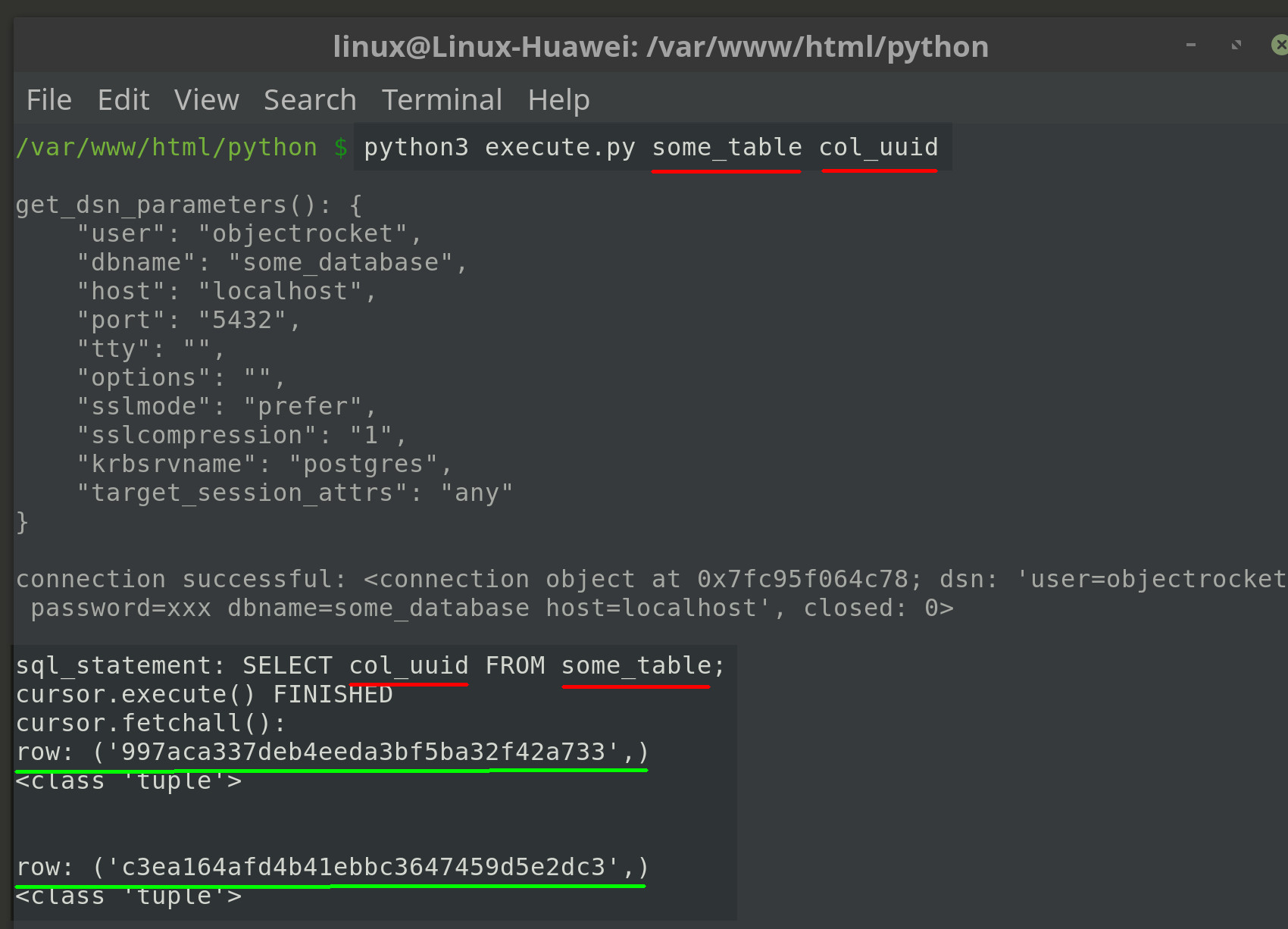 Screenshot of passing two arguments to Python when running psycopg2 script