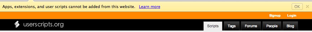 userscript のインストールが chrome にブロックされている図