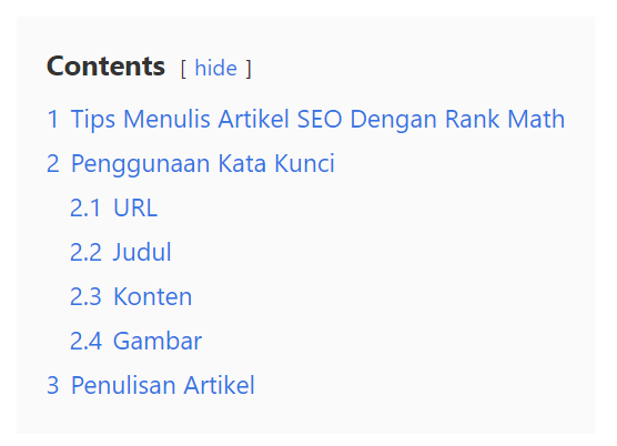 daftar isi dari luckywp table of contents