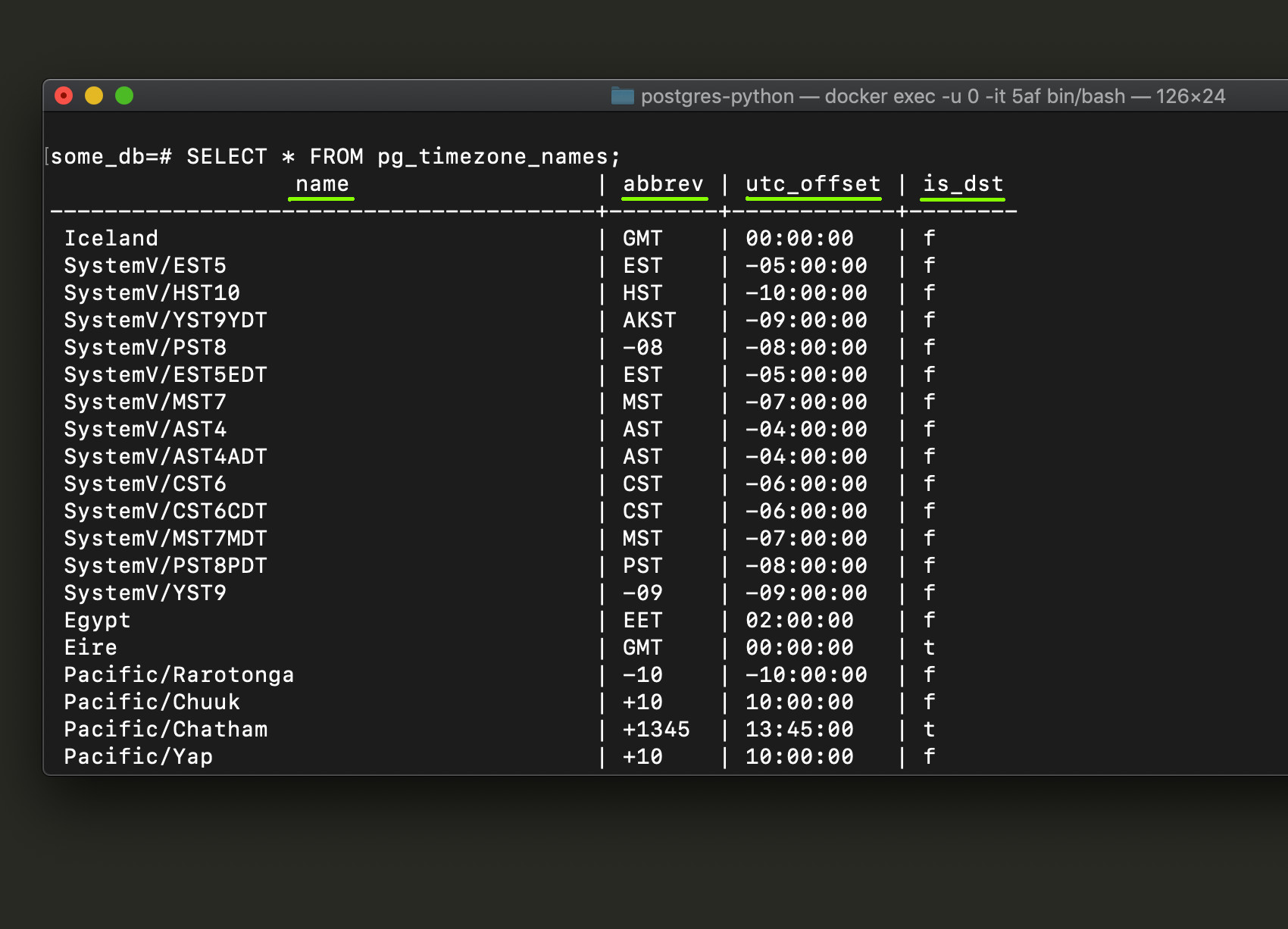 Screenshot of Postgres psql returning time zone names from pg_timezone_names table