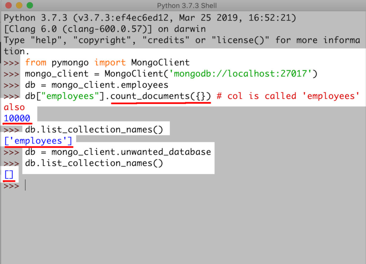 Screenshot of Python IDLE accessing MongoDB database and its collections and document count