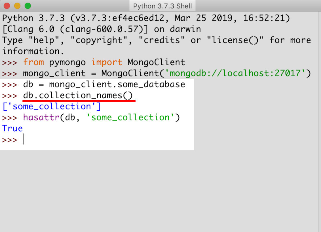 Screenshot of Python IDLE returning collection names for a MongoDB database