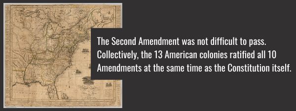 The Second Amendment was not a difficult amendment to pass, and all 10 were ratified by the collective 13 colonies at the same time as the Constitution itself.