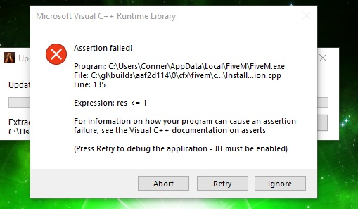 Assertion Failed Fix